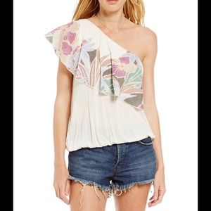 Free people Annka bubble print one shoulder top